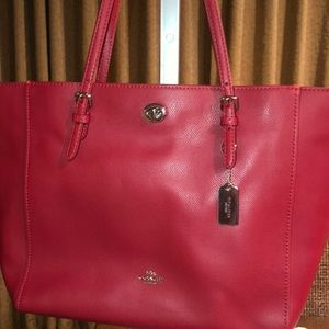 BRAND NEW RED COACH TURN LOCK TOTE